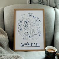 Good Dogs - Illustrated Dog Breeds Art Print - A5, A4 or A3; Limited Edition