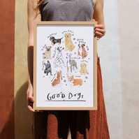 Good Dogs - Illustrated Dog Breeds Art Print - A5, A4 or A3; Full Colour Version