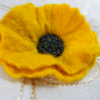 Handmade Felt Yellow Poppy Brooch with Beaded Centre Autumn Gift