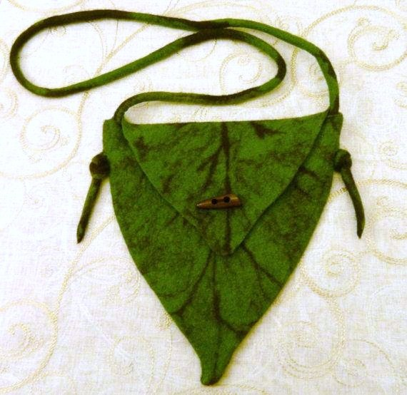Handmade Felt Green Leaf Bag Tree Elf Fairy Hand Felted Textile Fabric