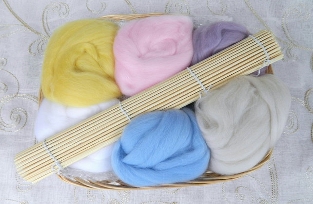 Felt Making Starter Craft Kit Supplies in Basket Summer Gift Kit Pastels