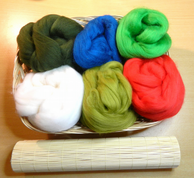 Felt Making Kit in Basket Christmas Gift Festive Greens and Reds