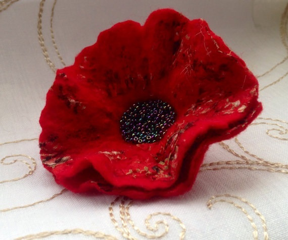 Handmade Felt Red Poppy Brooch with Beaded Centre Gift for Women