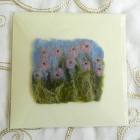 Handmade Felt Blank Card Purple Lilac Pansies Flowers