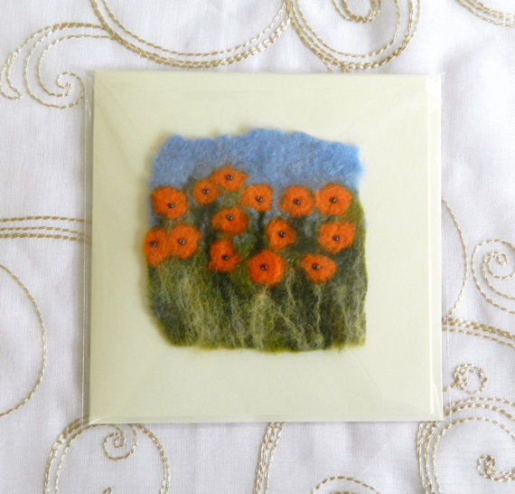 Handmade Felt Blank Card Orange Marigolds