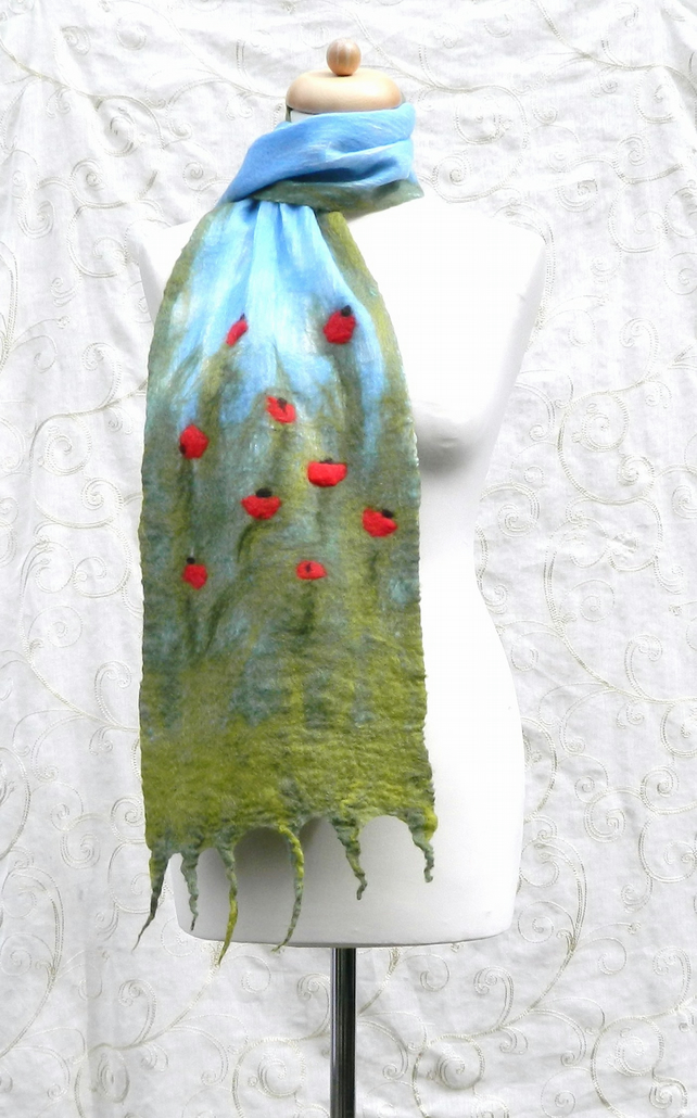 Red Green Poppy Scarf Shawl Wrap Gifts for Women Silk and Wool Felted Nuno