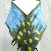 Yellow Green Daisy Scarf Shawl Wrap for Mothers Day Silk and Wool Felted Nuno