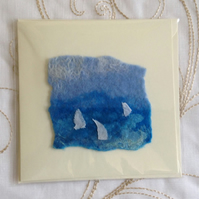 Handmade Felt White Yachts Birthday Fathers Day Holiday Blank Card