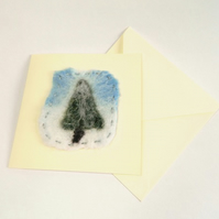 Handmade Felt Christmas Tree in Snow Card