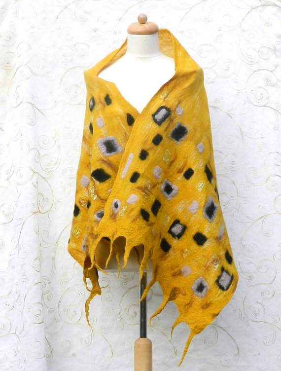 Yellow Gold Scarf Shawl Wrap Silk and Wool Felted Nuno Handmade Felt