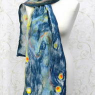Blue Yellow Scarf Wrap Silk and Wool Felted Nuno Handmade Felt