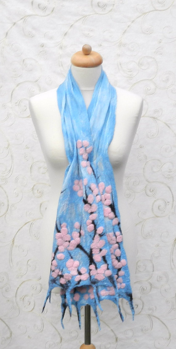 Pink Cherry Blossom Scarf Wrap Silk and Wool Felted Nuno Handmade Felt