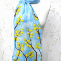 Yellow Spring Blossom Scarf Wrap Silk and Wool Felted Nuno Handmade Felt
