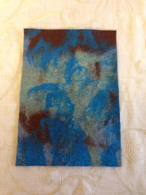 Handmade Felt Piece for Craft Supplies Blues and Browns
