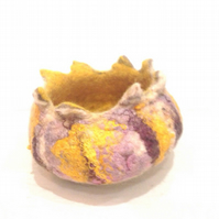 Trinket Bowl Handmade Felt Yellow Pink Natural For Home