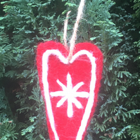 Red Handmade Felt Heart Christmas Tree Decoration Nordic Scandinavian Style