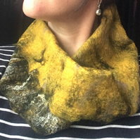 Mustard Yellow Black Cowl Snood Wool Gift for Women