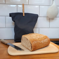oilcloth breadbag, bread bag, waxed cloth bread storage - gunmetal grey