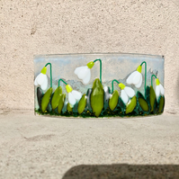 Snowdrops Fused Glass Art, Fused glass, Gardener's Gift, Mothers Day Gift,