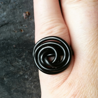 Black Wire Spiral Ring