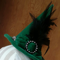 Emerald Green Velvet Mini Witches Hat