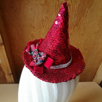 Red Sequin Mini Witches Hat