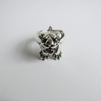Fierce dog ring, solid sterling silver