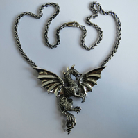 Dragon necklace, solid  silver