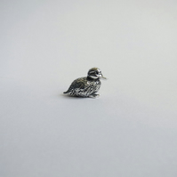 Tiny duckling figurine, solid sterling silver