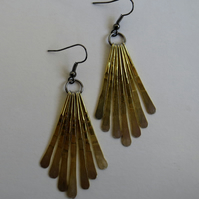 Beaten metal fringe drop earrings, gold and silver tone