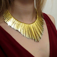 Hammered metal statement fringe necklace, gold and silver tone