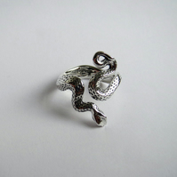 Snake ring, solid sterling silver