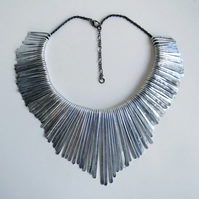 Beaten metal statement fringe necklace
