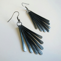 Raven's Wing black beaten metal fringe drop earrings
