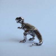 T. rex dinosaur miniature in solid silver