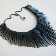 Raven's Wing black hammered metal statement necklace
