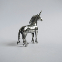 Unicorn standing figurine, solid sterling silver