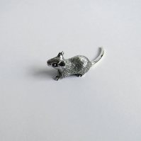 Tiny miniature mouse in solid sterling silver