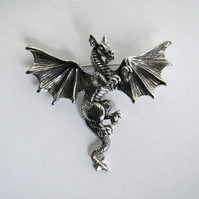 Silver dragon brooch, solid silver