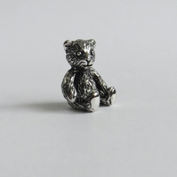 Tiny silver teddy bear miniature, solid hallmarked sterling silver