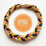 Knotted Cotton Statement necklace in yellow and orange, sustainable jewellery