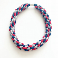 Chunky crochet necklace, multicolour necklace, macrame statement knitted necklac