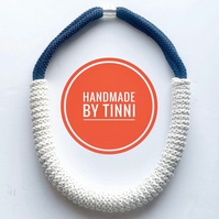 Statement sustainable necklace made with 100% biodegradable cotton rope - White