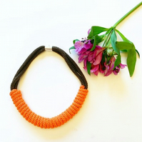 Orange Cotton Rope Necklace, Chunky Statement Jewellery, Rope knot necklace