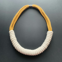 Vanilla Crochet Necklace - Chunky Statement Jewellery - Eco Friendly Necklace