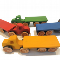 Wooden Toy Lorry and Trailer - Toy Truck for Baby or Toddler Gift.