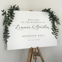 Welcome Signage Wedding, Welcome to our wedding, White Wedding Signage