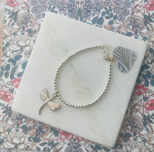 Sterling Silver Beaded Bracelet with Dragonfly Charm
