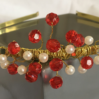 Aurora Gold Red and Ivory Tiara