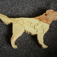 Wooden Golden Retriever Jigsaw Ornament